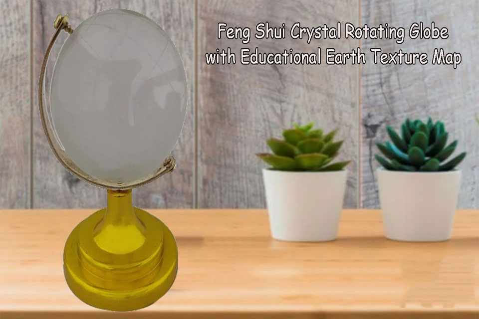 Feng Shui Crystal Rotating 5 cm Globe with Educational Earth Texture Map
